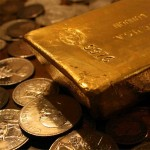 Gold bars, coins, mining, metals