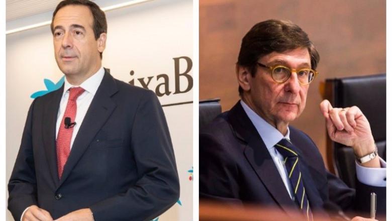 ep gonzalo gortazar consejero delegado de caixabank izq y jose ignacio goirigolzarri presidente de