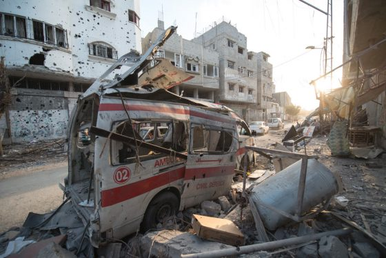 destroyed ambulance in the city of shijaiyah in the gaza strip-560x374