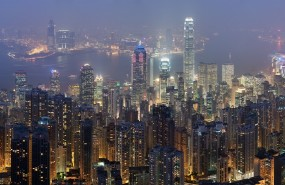 hong kong kowloon peninsula skyline night city
