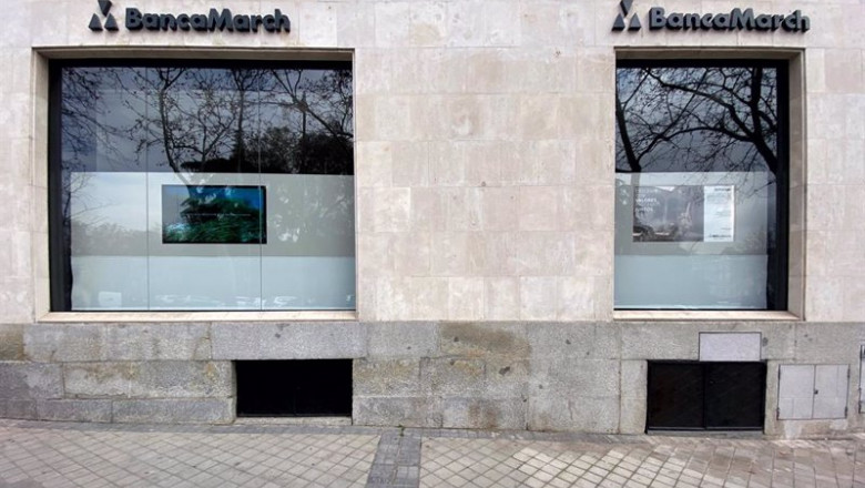 ep exterior de un local de banca march en madrid espana a 13 de febrero de 2020