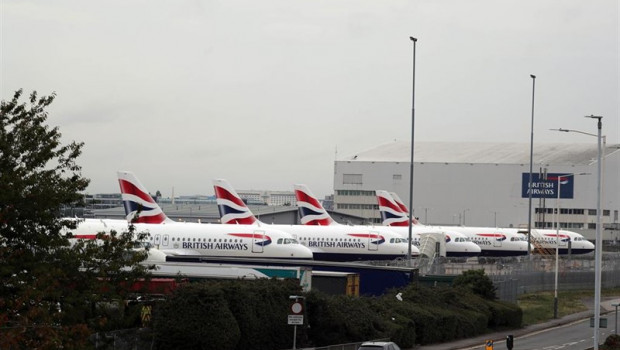 ep 09 september 2019 england london british airways planes park at the engineering base at heathrow