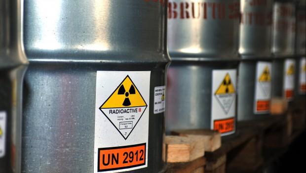 Uranium ore in barrels, mining