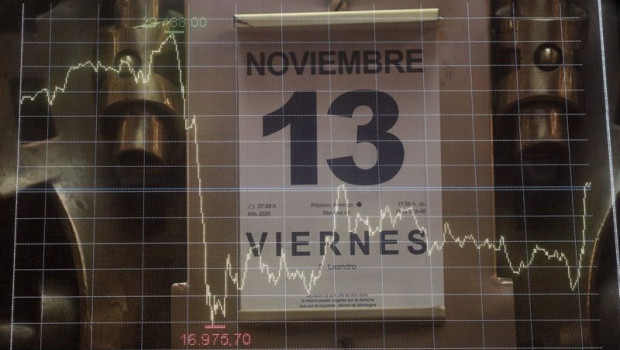 ep calendario con la fecha del 13 de noviembre e imagen de los valores de la bolsa de madrid espana