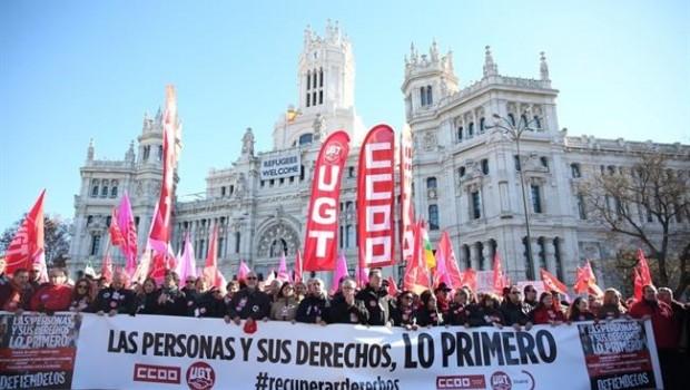 manifestacion de los sindicatos