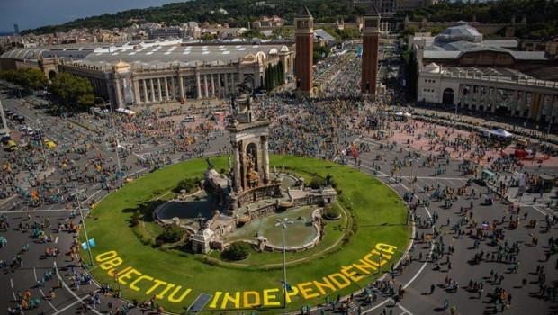 ep vista general de la plaza espa de barcelona momentos antes del inicio de la manifestacion